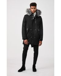 Mackage Seth Fur-lined Military Parka With Removable Silverfox Fur In Black - Men