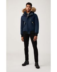 Mackage Seth Fur-lined Military Parka With Removable Natural Fur In Navy - Men - Blue