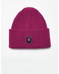 Mackage Jude Merino Knit Hat With Logo In Magenta - Purple