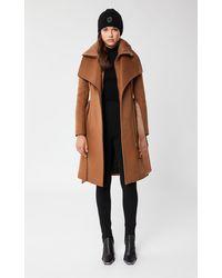 Mackage Nori Wool Coat With Leather Sash Belt In Camel - Women - Brown