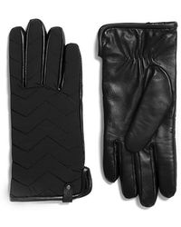 Mackage - Haan Leather Gloves For Men With Nylon Chevron Quilted In Black - Lyst