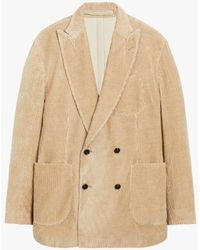 Mackintosh Tokyo Beige Linen & Cotton Corduroy Double Breasted Jacket Gbf-100 - Natural