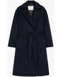 Mackintosh Laurencekirk Navy Chalk Stripe Wool Blend Trench Coat Lm-1009f - Blue
