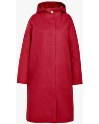 Mackintosh Ruby Bonded Cotton Hooded Coat - Red