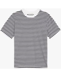 Mackintosh Altass White X Navy Cotton Half Sleeve Crewneck T-shirt | Lcs-018