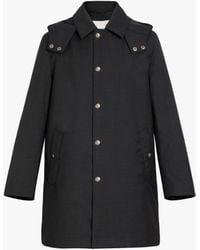 Mackintosh Dunoon Hood Charcoal Storm System Wool Thindown Short Hooded Coat Gm-1004td - Grey