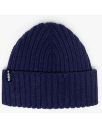 Mackintosh Kemet Navy Wool Beanie - Blue