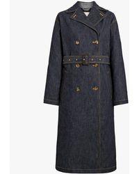 Mackintosh Dark Indigo Denim Trench Coat - Blue