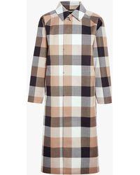 Mackintosh Black X Camel Blockcheck Bonded Wool Coat