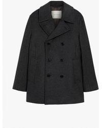 Mackintosh Dalton Charcoal Wool & Cashmere Pea Coat Gm-1075f - Grey