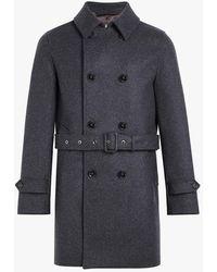 Mackintosh Charcoal Wool Short Trench Coat Gm-005f - Blue
