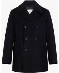 Mackintosh Broom Black Wool & Cashmere Pea Coat | Gm-1017f