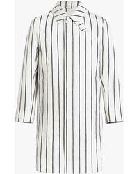 Mackintosh White Striped Linen Storm System Coat