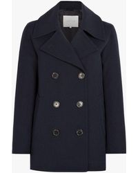 Mackintosh Navy Virgin Wool Pea Coat - Blue