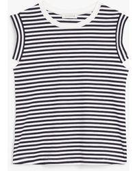 Mackintosh Ardullie White X Navy Cotton Sleeveless T-shirt | Wcs-1005