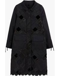 Cecilie Bahnsen Black Cotton Blend Patchwork Coat