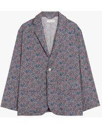 Mackintosh White X Blue Cotton Liberty Print Blazer
