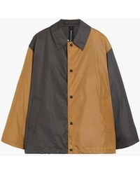 Mackintosh Teeming Asphalt X Camel Nylon Color Block Coach Jacket Gmm-201 - Black