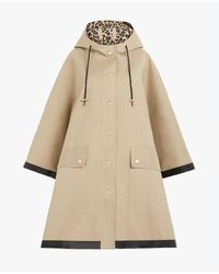 Mackintosh Keith Beige X Leopard Bonded Cotton Hooded Poncho | Lr-088 - Natural