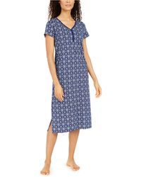 Charter Club Cotton Printed Jersey Nightgown, Created For Macy's - Blue