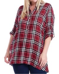 Fever Plaid Tunic - Red