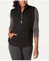 Karen Scott Petite Quilted Zip-front Fleece Vest, Created For Macy's - Black