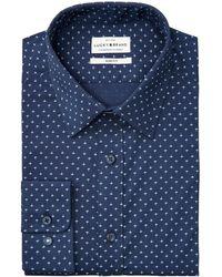 Lucky Brand Slim-fit Performance Stretch Navy Blue/blue Fleur-de-lis Print Dress Shirt