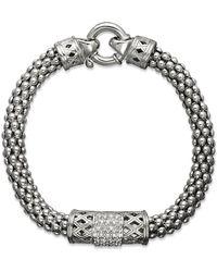 Macy's Diamond Barrel Bracelet In Sterling Silver (1/4 Ct. T.w.) - Metallic