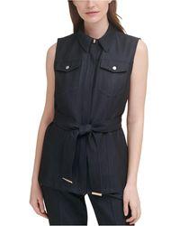 Calvin Klein Solid Pocket-front Belted Vest - Blue