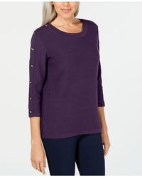 Karen Scott 3/4-sleeve Sweater, Created For Macy's - Purple