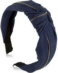 Guess - Denim Knotted & Zippered Headband - Lyst