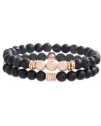 Steve Madden Lava Stone Beaded Duo Bracelet Set - Black