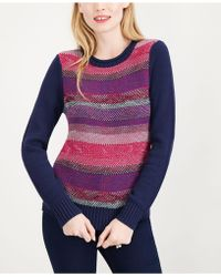 Maison Jules - Striped Crew-neck Sweater, Created For Macy's - Lyst