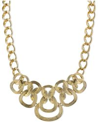 "2028 - Gold-tone Ornate Link Statement Necklace 16"" Adjustable - Lyst"