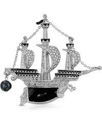 2028 Enamel Galleon Ship Brooch Pin - Black