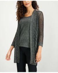 Kasper - Crocheted Metallic Cardigan - Lyst