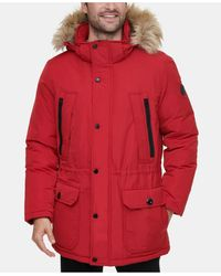 Calvin Klein Long Snorkel Coat With Faux-fur Trimmed Hood - Red