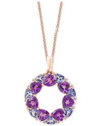 """Effy Collection - Effy® Multi-gemstone (4-1/4 Ct. T.w.) & Diamond Accent Wreath 18"""" Pendant Necklace In 14k Rose Gold - Lyst"""