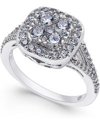 Macy's Diamond Cluster Engagement Ring (1 Ct. T.w.) In 14k White Gold - Metallic
