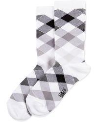 Hue Gingham Argyle Socks - Black