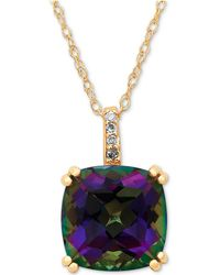 Macy's | Mystic Topaz (3-1/2 Ct. T.w) & Diamond (1/5 Ct. T.w.) Pendant Necklace In 10k Gold | Lyst