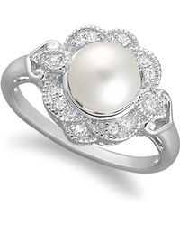 Macy's - Sterling Silver Ring, Cultured Freshwater Pearl (7mm) And Diamond (1/10 Ct. T.w.) Ring - Lyst