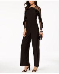 R & M Richards Petite Illusion Ruffle Jumpsuit - Black