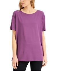Eileen Fisher Short-sleeve Boat-neck Top - Purple