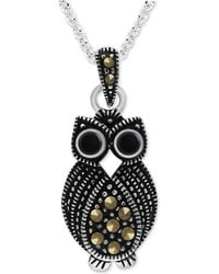 """Macy's - Onyx & Marcasite Owl 18"""" Pendant Necklace In Fine Silver-plate - Lyst"""