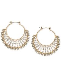 Marchesa Gold-tone Crystal Fan Small Hoop Earrings S - Metallic