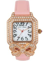 Betsey Johnson - Women's Bow Gold-tone Pink Leather Strap Watch 36x45mm - Lyst