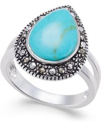 Macy's - Manufactured Turquoise & Marcasite Teardrop Ring In Silver-plate - Lyst
