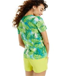 Charter Club Cashmere Tropical Print Short-sleeve Crewneck Sweater, Created For Macy's - Green