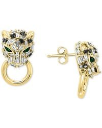 Effy Effy® Diamond (5/8 Ct. T.w.) & Emerald (1/10 Ct. T.w.) Signature Panther Doorknocker Drop Earrings In 14k Gold - Metallic